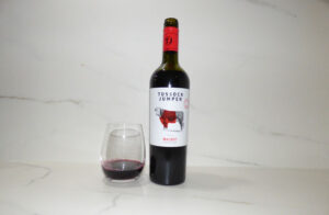 Tussock Jumper Malbec poured in glass
